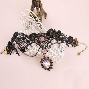 Flower Faux Crystal Tassel Hollowed Lace Necklace - COLORMIX