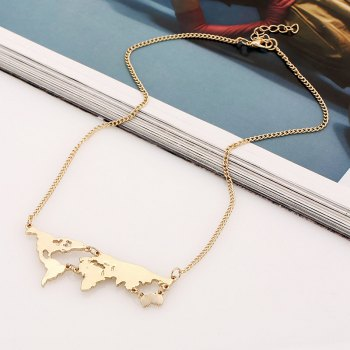 World Map Pendant Necklace - GOLDEN