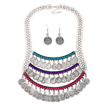 A Suit of Faux Crystal Coins Necklace and Earrings