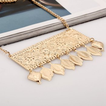 Engraved Rectangle Leaf Necklace - GOLDEN