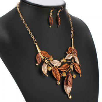 Cut Out Faux Gem Leaf Shape Necklace and Earrings - TEA COLORED
