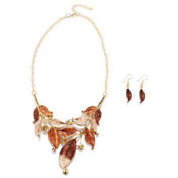 Cut Out Faux Gem Leaf Shape Necklace and Earrings