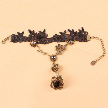 Rose Water Drop Faux Gem Hollowed Lace Bracelet with Ring -  BLACK