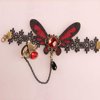 Butterfly Faux Ruby Hollowed Lace Bracelet with Ring - RED