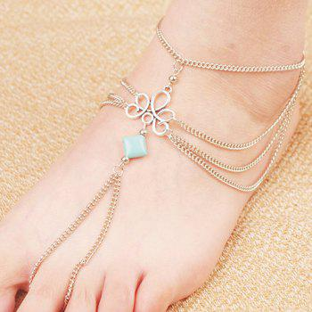 Retro Fake Turquoise Layered Toe Ring Anklet - SILVER SILVER