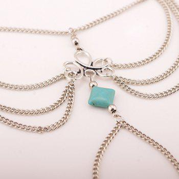Retro Fake Turquoise Layered Toe Ring Anklet -  SILVER