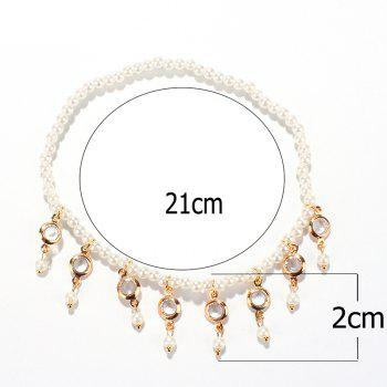 Fake Pearl Hollow Out Round Alloy Tassel Beaded Anklets - WHITE