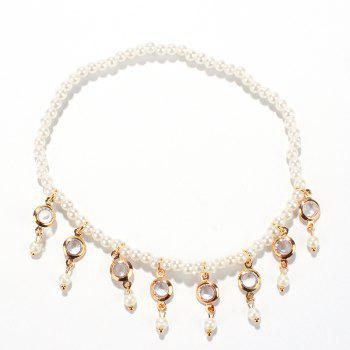 Fake Pearl Hollow Out Round Alloy Tassel Beaded Anklets - WHITE WHITE