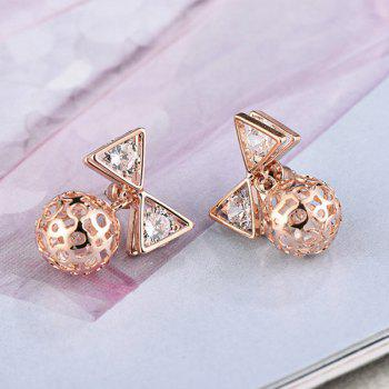 Pair of Hollow Out Ball Bow Stud Earrings