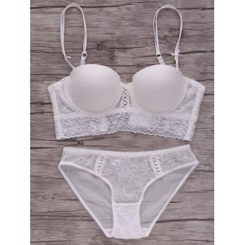 Alluring Lace Spliced Solid Color Push-Up Women's Bra Set