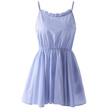 Cute Spaghetti Straps Striped Dress For Women