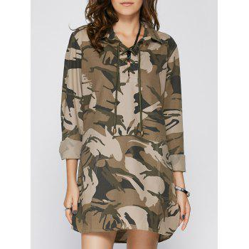 Stylish Women's Shirt Collar Long Sleeve Lace-Up Camo Dress