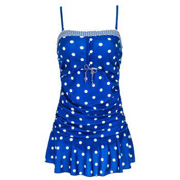 Stylish Women's Spaghetti Straps Polka Dot Ruffled Swimwear