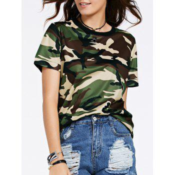 Fashionable Round Neck Short Sleeve Camouflage Print Mesh Design Women's T-Shirt