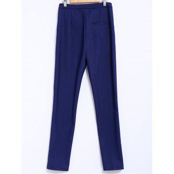 Simple Style Narrow Feet Solid Color High Waisted Slimming Women's Pants - BLUE L