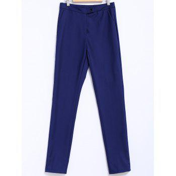 Simple Style Narrow Feet Solid Color High Waisted Slimming Women's Pants