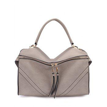 Elegant Stitching and Zip Design Tote Bag For Women