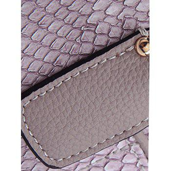 Trendy Snake Print and  PU Leather Design Tote Bag For Women - GRAY
