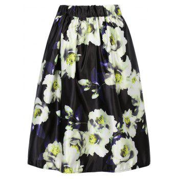 Stylish Flower Print A Line Skirt For Women