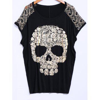 Street Style Lace Scoop Neck Loose-Fitting Short Batwing Sleeve Skull Pattern Splicing Women's T-Shirt