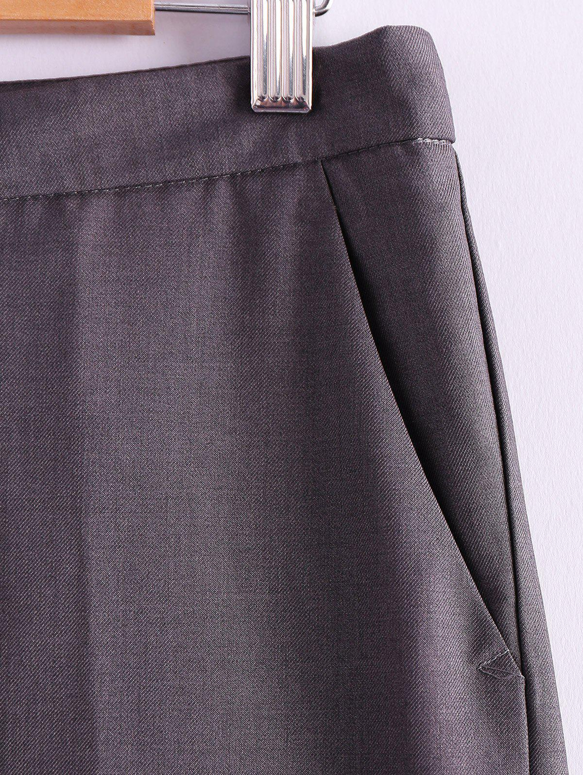 Simple Style Narrow Feet Solid Color High Waisted Slimming Women's Pants - GRAY L