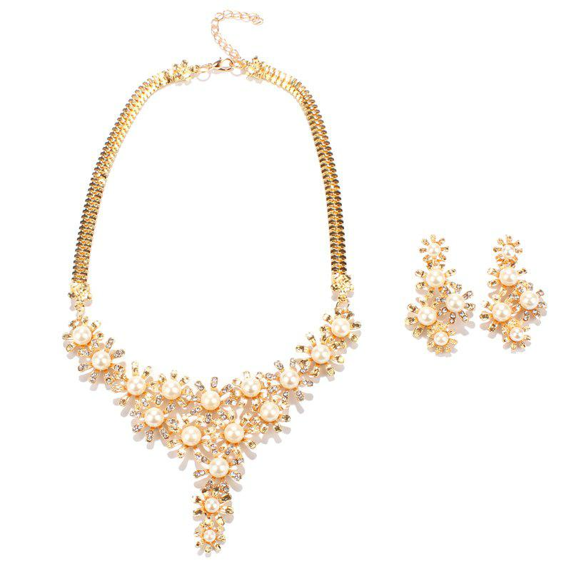 Faux Pearl Rhinestone Alloy Floral Necklace and Earrings - GOLDEN