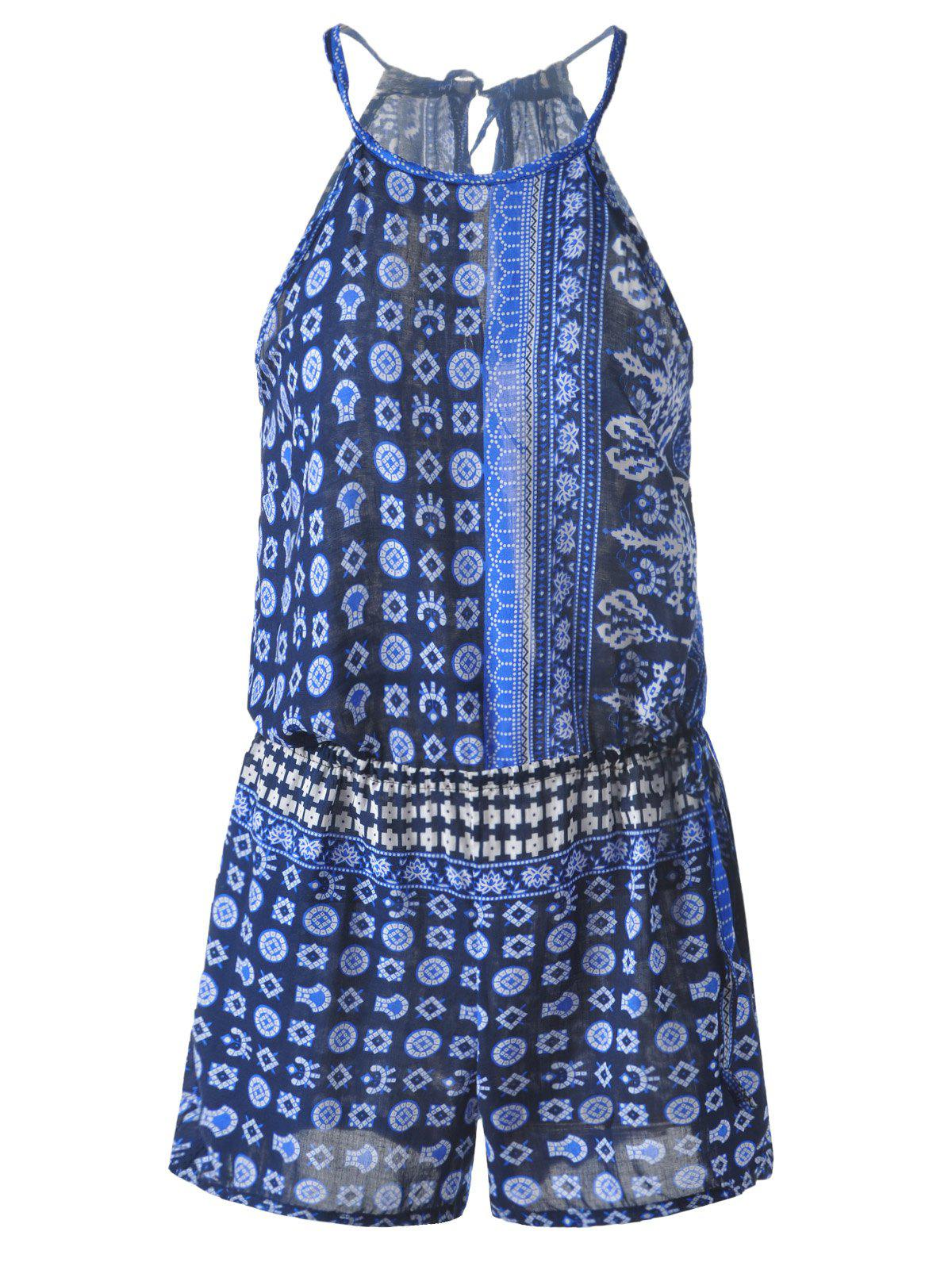 Bohemian Lace-Up Abstract Printing Drawstring Backless Romper For Women - PEACOCK BLUE ONE SIZE(FIT SIZE XS TO M)