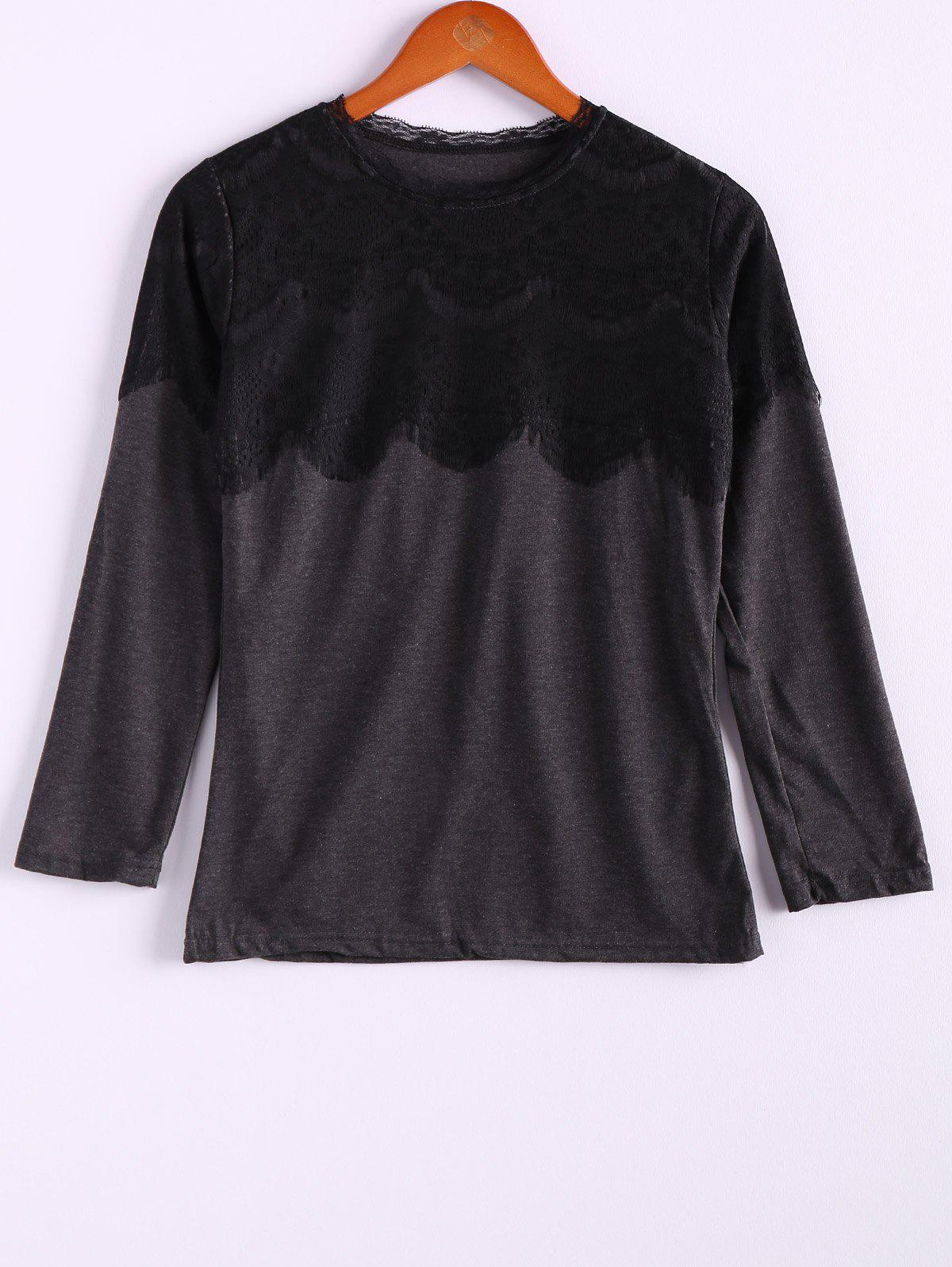 Casual Style Plus Size Lace Splicing Long Sleeve Cotton Blend Women's T-Shirt - DEEP GRAY XL