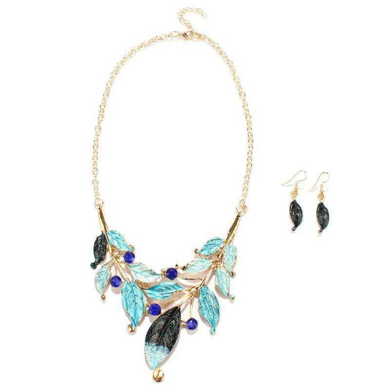 Delicate Retro Style Leaf Cut Out Faux Sapphire Necklace and Earrings For Women