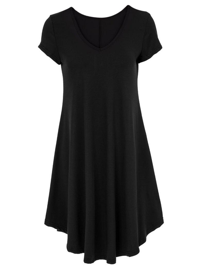 V-Neck Ruffled Short Sleeve Dress - BLACK 2XL