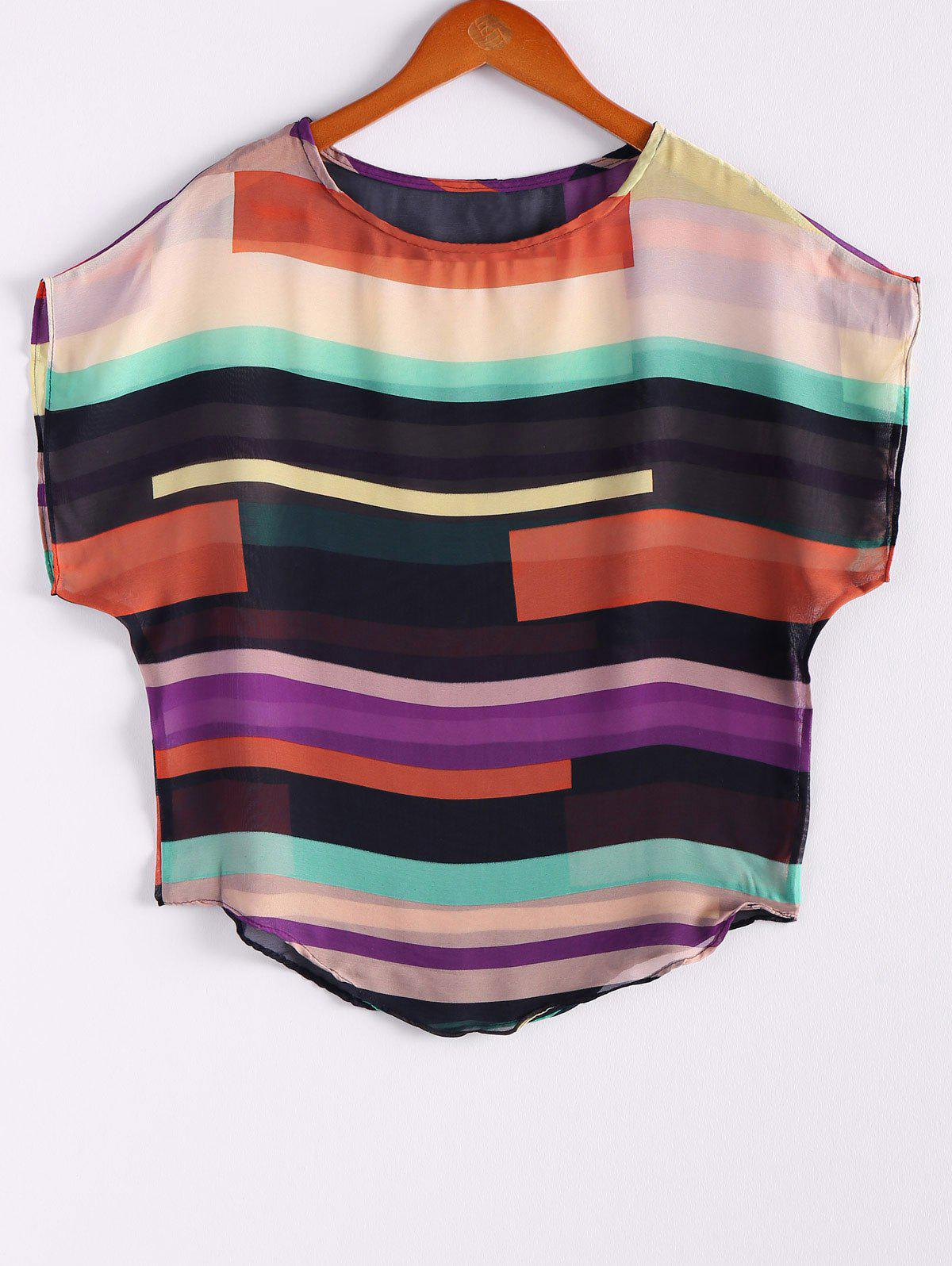 Women's Irregular Chiffon Stripe Splicing Mutli-Color Bat Sleeve Shirt Blouse - COLORMIX M