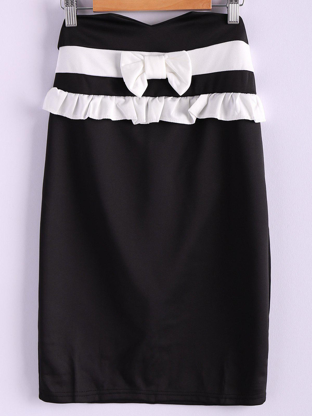 Sweet Style Polyester Bow Tie Flounce Edge Women's Skirt - BLACK S
