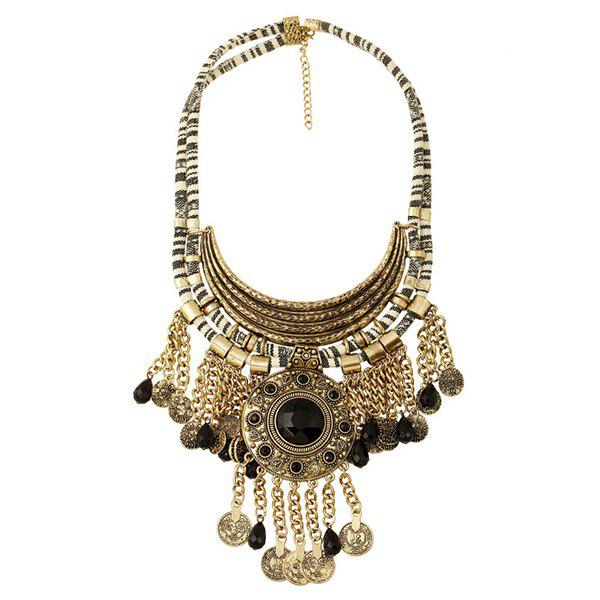 Ethnic Style Faux Gem Tassels Coin Necklace For Women -  COPPER COLOR