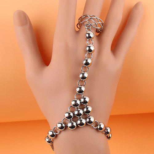 Punk Style Solid Color Bead Bracelet With Ring For Women - SILVER