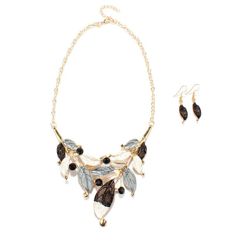 Faux Gem Leaf Shape Necklace and Earrings - BLACK