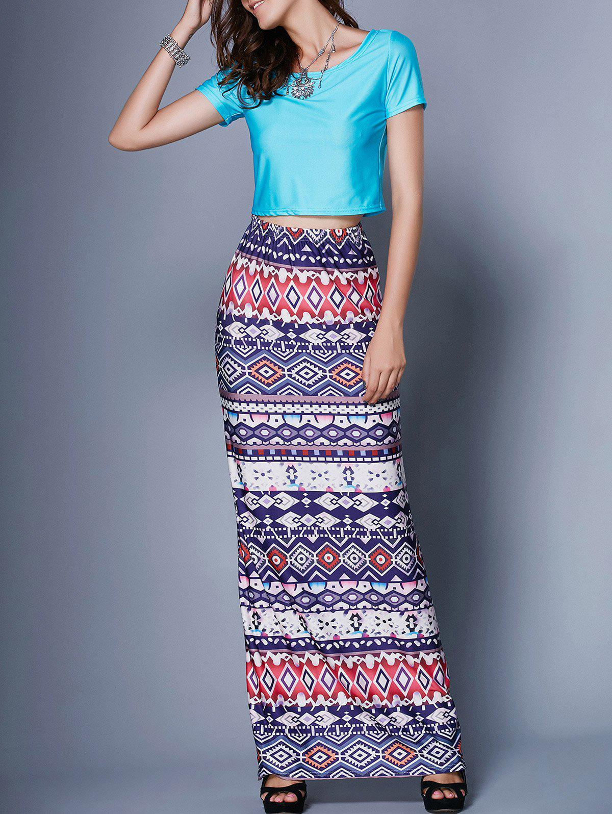 Tribal Pattern Skirt and Crop Top Twinset