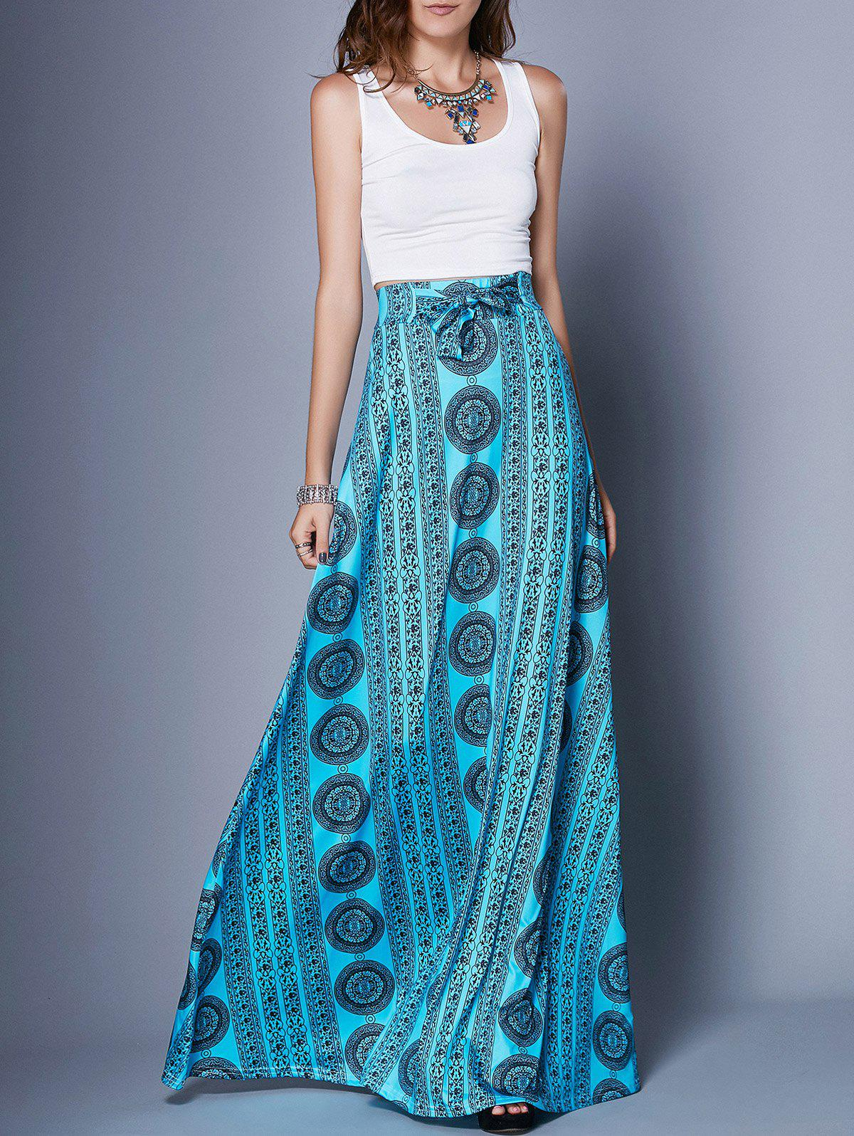 Stylish Women's Scoop Neck Tank Top + Printed Skirt Twinset - BLUE S
