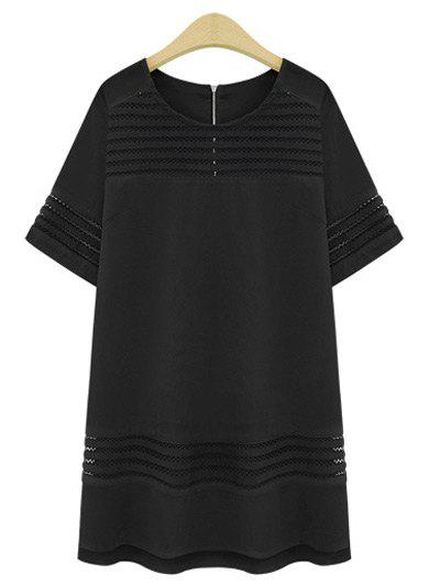 Trendy Plus Size See-Through Short Sleeve Dress For WomenWomen<br><br><br>Size: 4XL<br>Color: BLACK