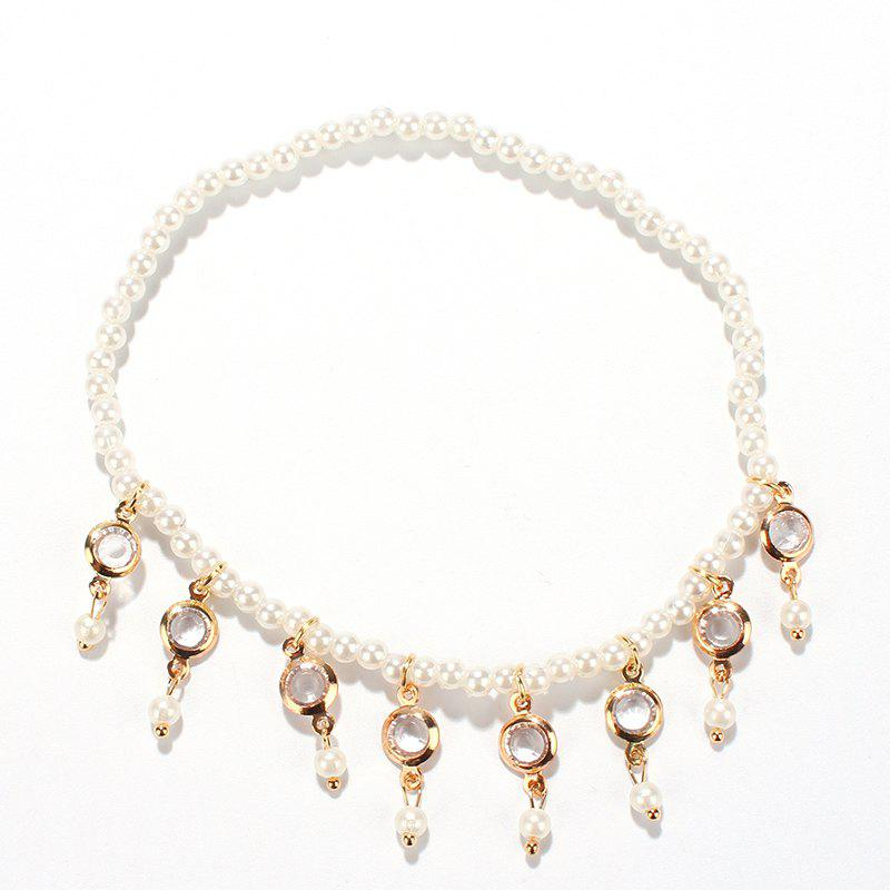 Fake Pearl Hollow Out Round Alloy Tassel Anklet - WHITE