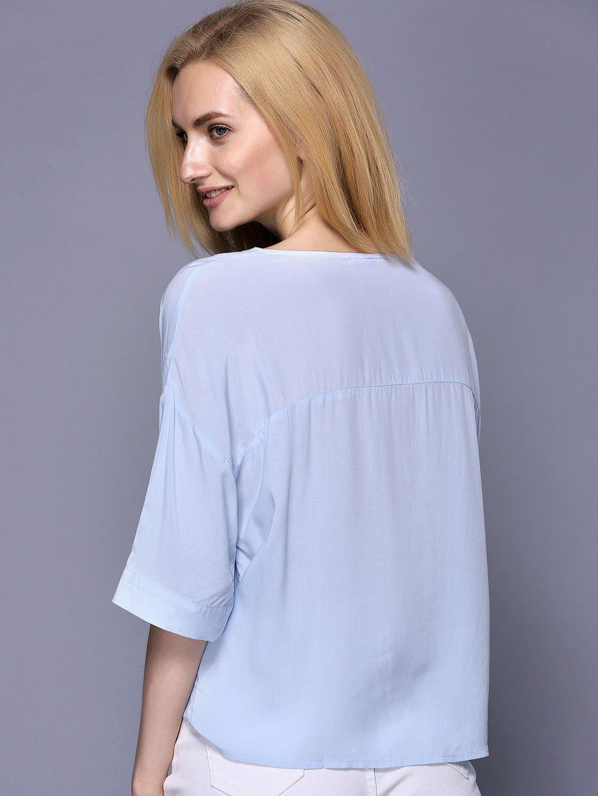 Trendy Women's 3/4 Sleeve V-Neck Loose-Fitting Pure Color Blouse - LIGHT BLUE ONE SIZE(FIT SIZE XS TO M)