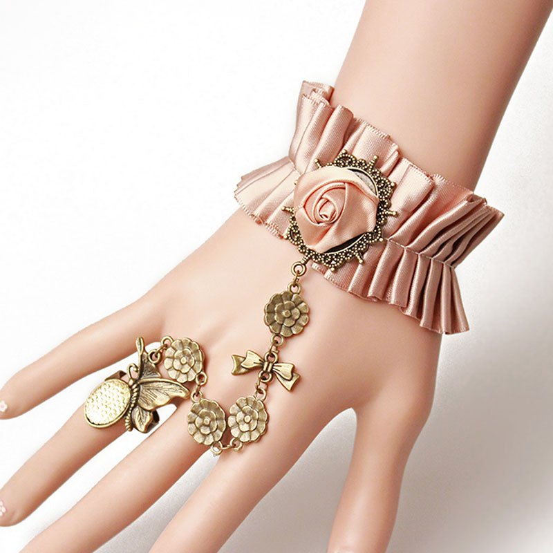 Elegant Butterfly Flowers Fabrics Bracelet with Ring For Women - PINK