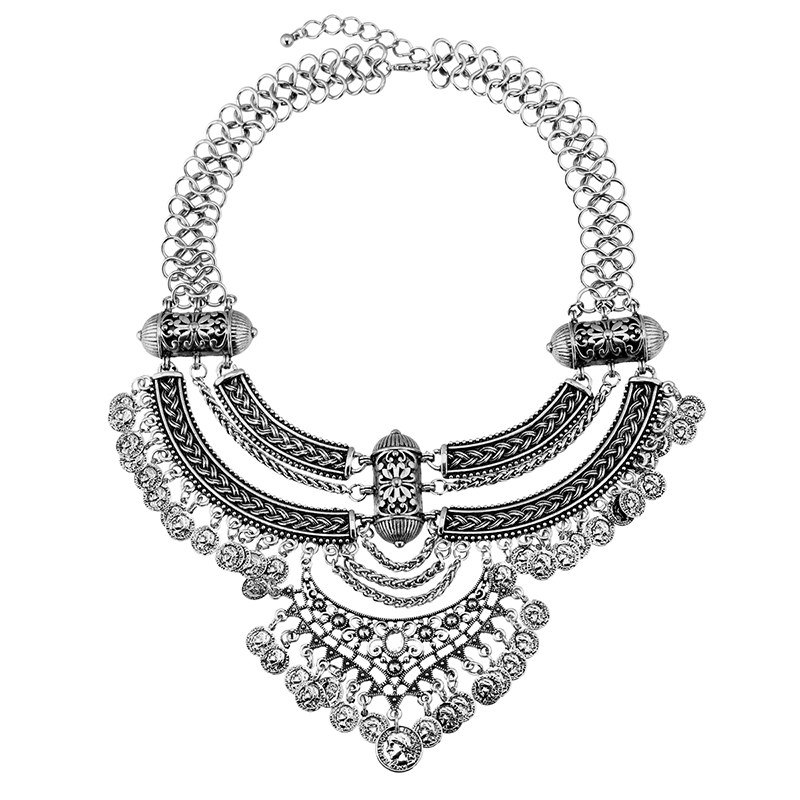 Chic Alloy Rhinestone Coins Necklace For Women