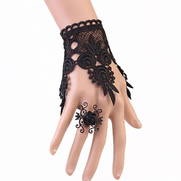 A Suit of Elegant Rose Hollowed Black Lace Bracelet and Ring For Women - BLACK