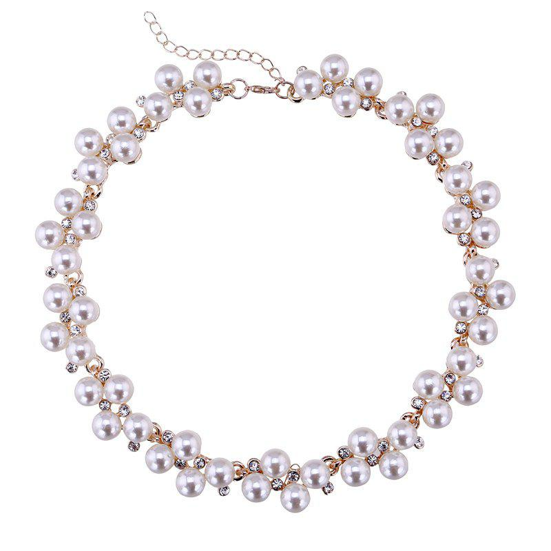 Elegant Rhinestone Faux Pearl Necklace For Women