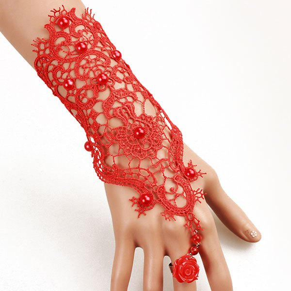 Elegant Flower Bead Hollowed Red Lace Bracelet with Ring For Women - RED