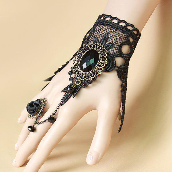 Flower Faux Gem Hollowed Lace Bracelet with Ring - BLACK