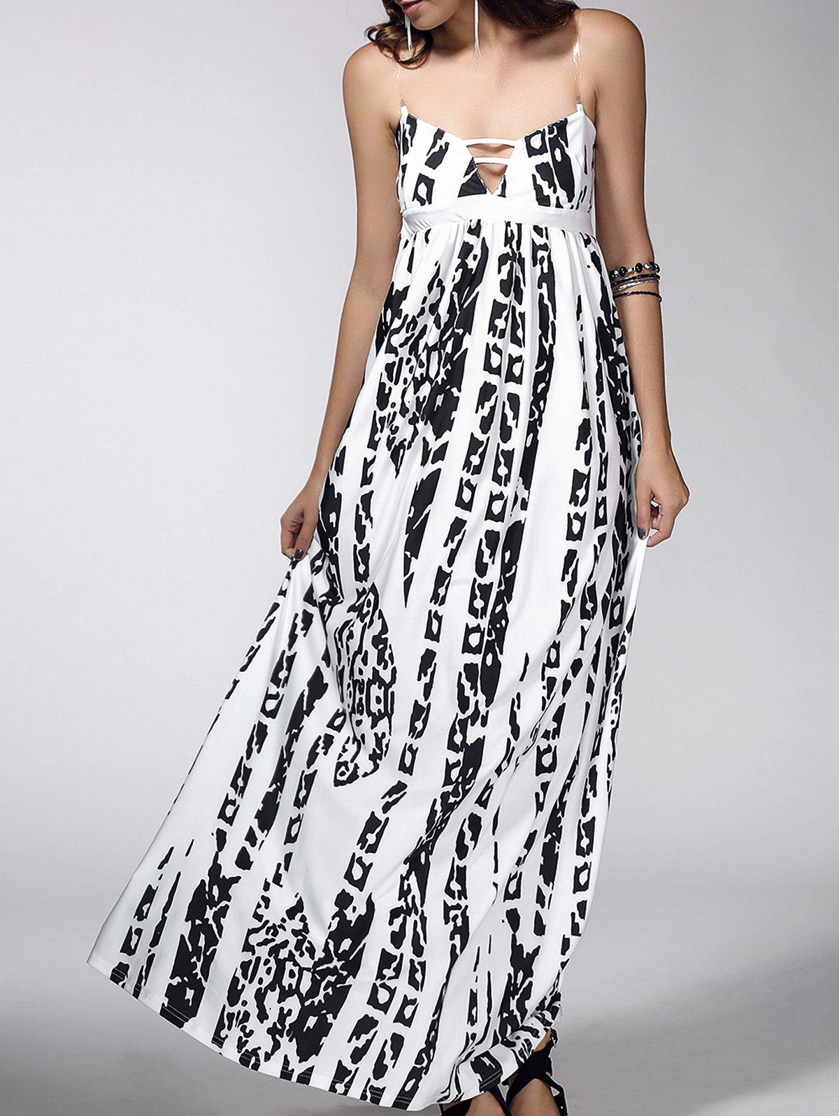 Elegant Women's Strappy Abstract Print Dress