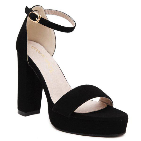 Stylish Platform and Black Colour Design Women's Sandals - BLACK 37