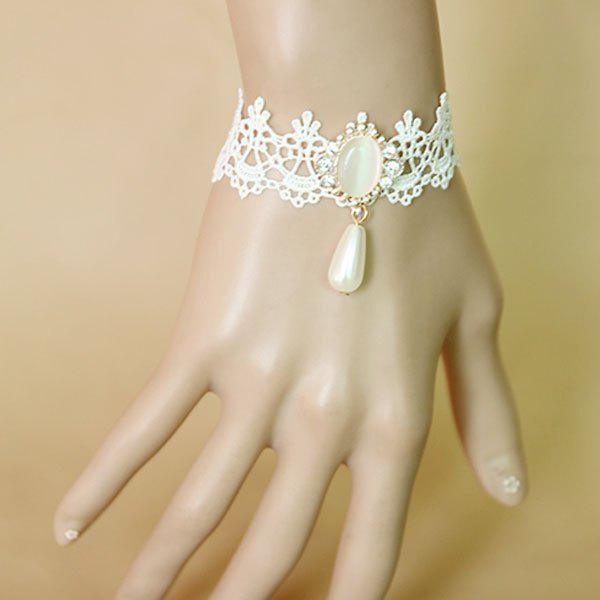 Elegant Faux Pearl Rhinestone Hollowed Lace Bracelet For Women - WHITE