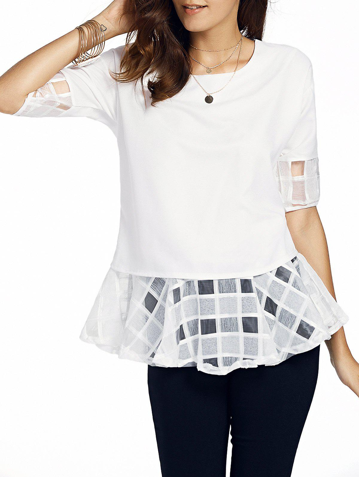 Sweet Half Sleeve Round Neck Bowknot Design Spliced Chiffon Blouse For Women - WHITE XL